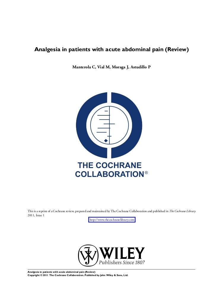 Dolor abdominal agudo analgesia