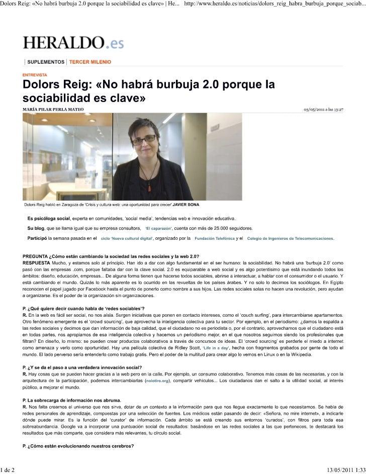 Dolors reig  «no habrá burbuja 2.0 porque la sociabilidad es clave»   heraldo