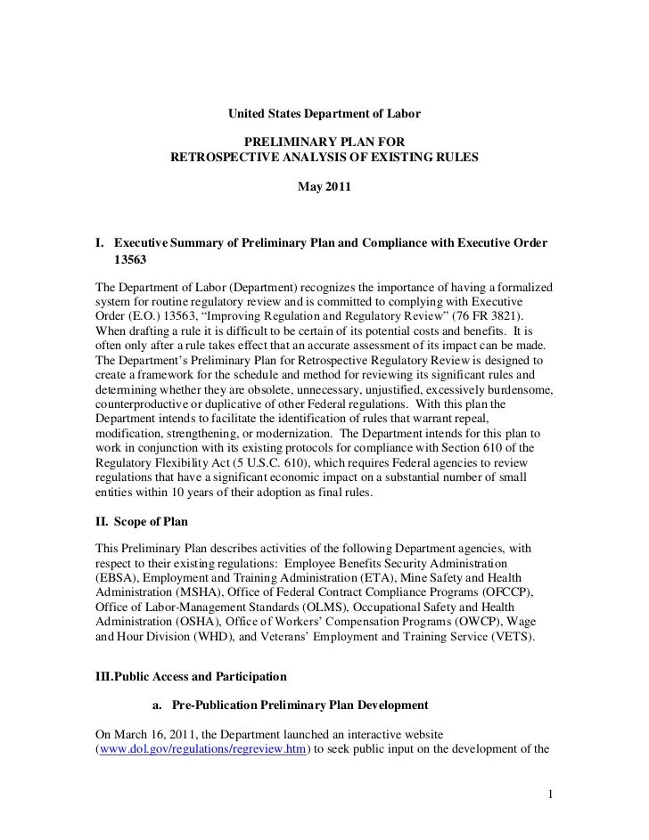 United States Department of Labor                        PRELIMINARY PLAN FOR               RETROSPECTIVE ANALYSIS OF EXIS...