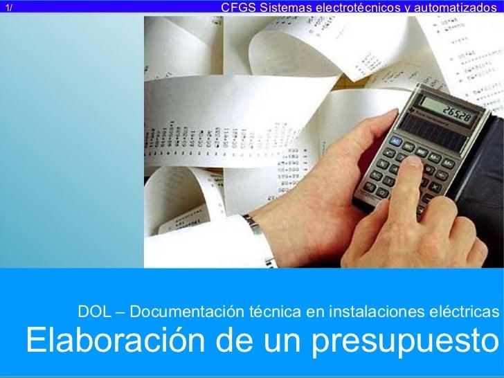 Documentación técnica: Elaboración de presupuestos