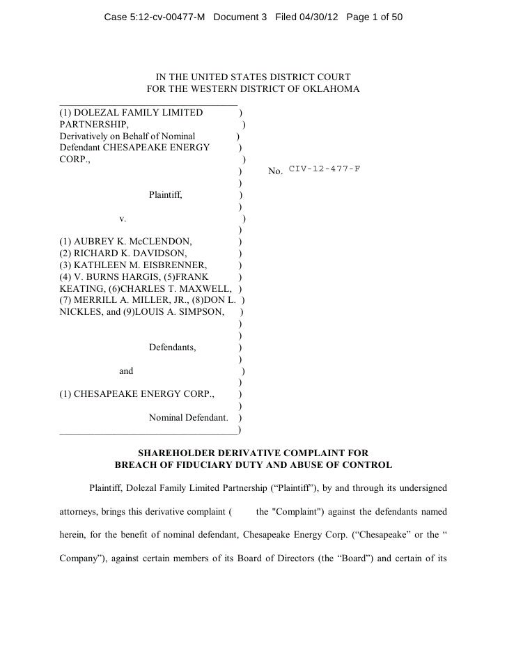 Case 5:12-cv-00477-M Document 3 Filed 04/30/12 Page 1 of 50                        IN THE UNITED STATES DISTRICT COURT    ...