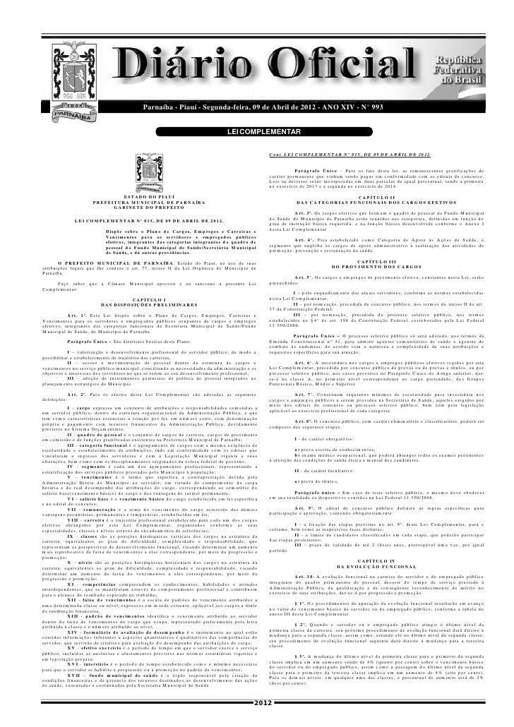 Diário Oficial do Município de Parnaíba - n° 993 - 09 de Abril de 2012                                                    ...