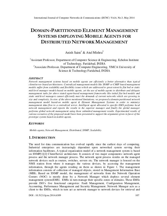 Domain partitioned element management systems employing mobile agents for distributed network management