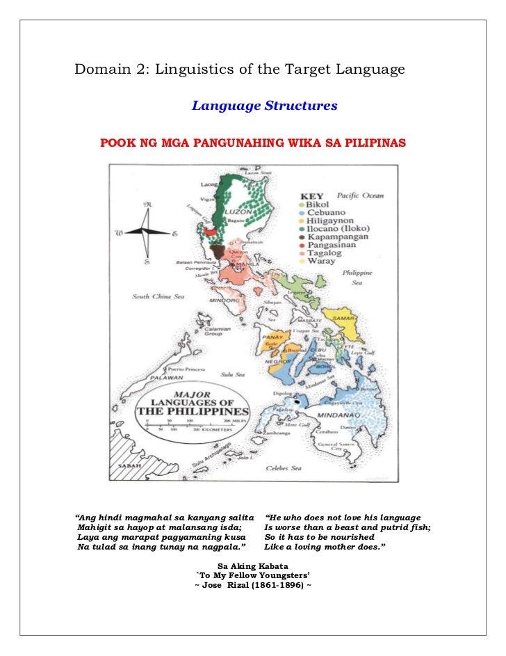Domain 2: Linguistics of the Target Language                        Language Structures     POOK NG MGA PANGUNAHING WIKA S...