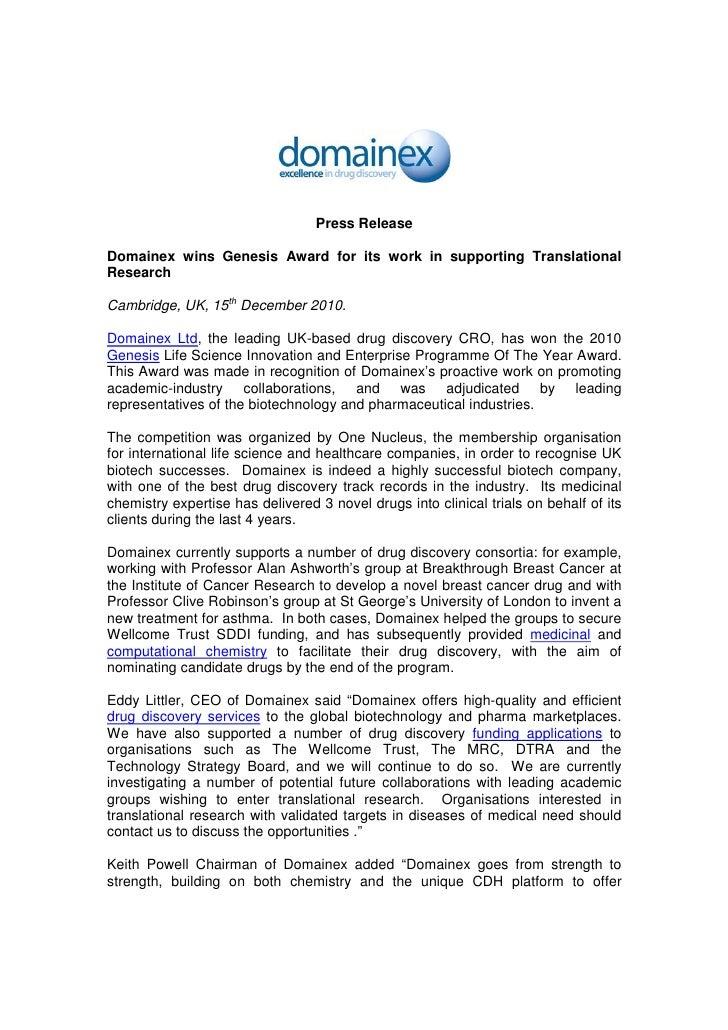 Domainex Genesis Award