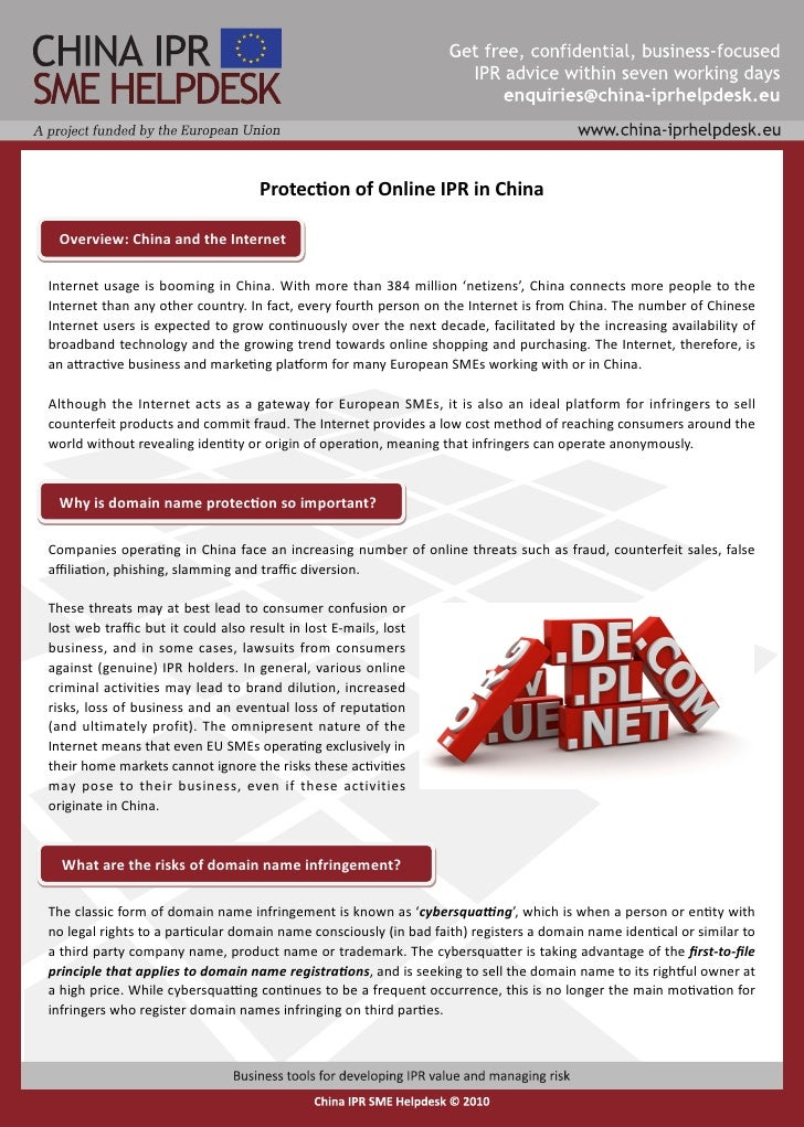Protection of Online IPR in China   Overview: China and the Internet  Internet usage is booming in China. With more than 3...