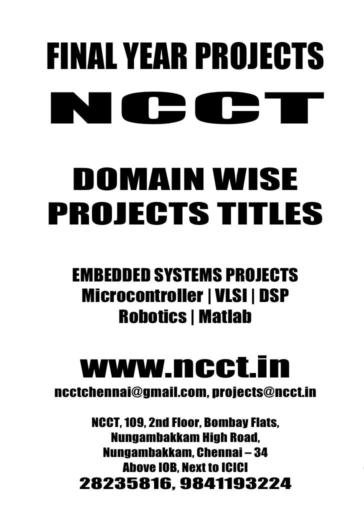 Domain Wise Project Titles, 2009   2010 Ncct Final Year Projects