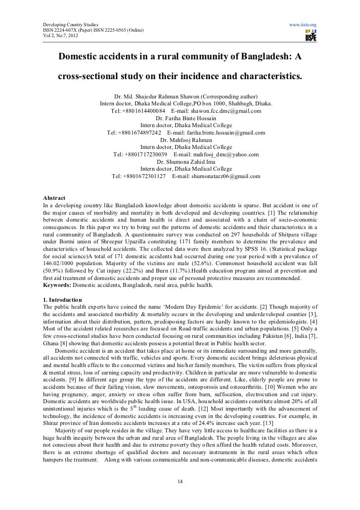 Domestic accidents in a rural community of bangladesh a cross sectional study on their incidence and characteristics.