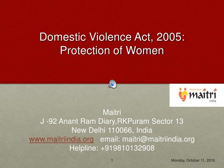 Domestic violence act 2005, India