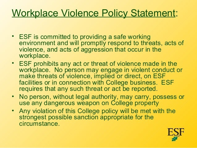 domestic violence in the workplace State domestic violence in the workplace policy  i purpose: the purpose of this policy is to set forth procedures and guidelines for all state of new.