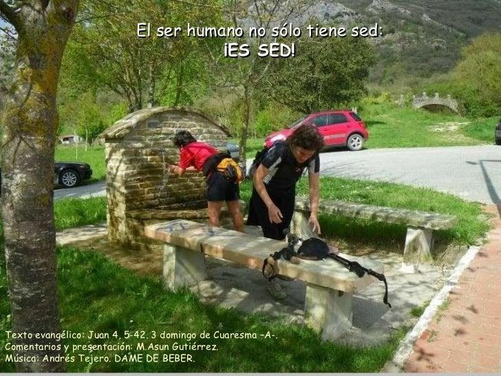 El ser humano no sólo tiene sed: ¡ES SED! Texto evangélico: Juan 4, 5-42. 3 domingo de Cuaresma –A-. Comentarios y present...