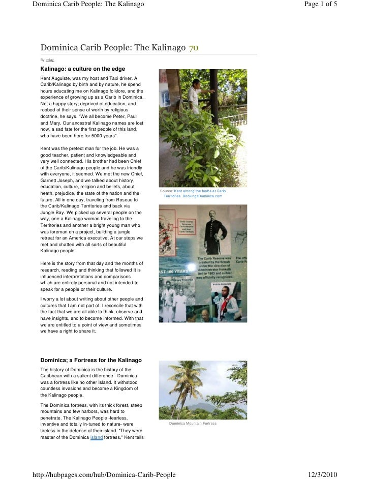 Cultural Tourism: Dominica Carib People: The Kalinago