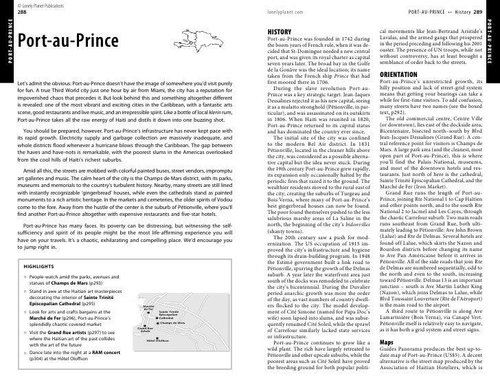 © Lonely Planet Publications PORT-AU-PRINCE   288                                                                         ...