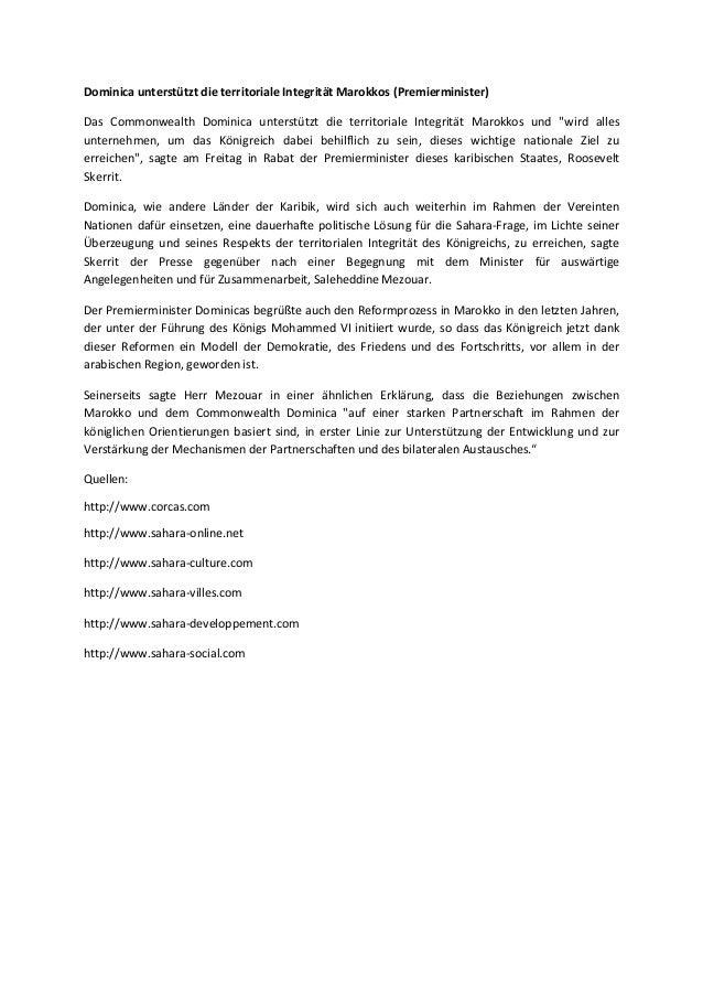 Dominica unterstützt die territoriale Integrität Marokkos (Premierminister) Das Commonwealth Dominica unterstützt die terr...