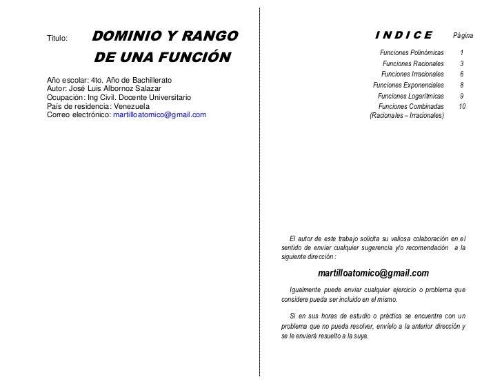 Titulo:     DOMINIO Y RANGO                                                                            INDICE             ...