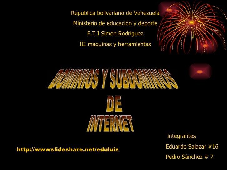 Dominio  Y Subdominio De Internet[1]