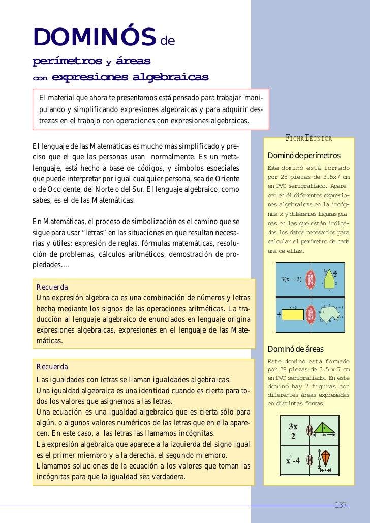 DOMINÓS de DOMINÓS perímetros y áreas con expresiones algebraicas    El material que ahora te presentamos está pensado par...