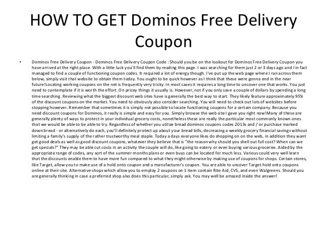 Domino's pizza free delivery coupon code