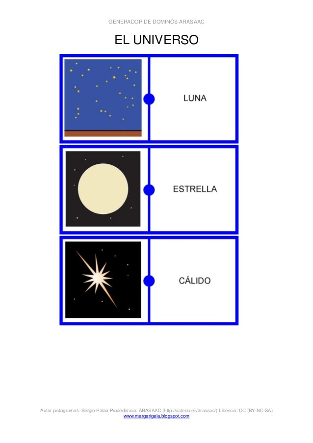 GENERADOR DE DOMINÓS ARASAAC Autor pictogramas: Sergio Palao Procedencia: ARASAAC (http://catedu.es/arasaac/) Licencia: CC...