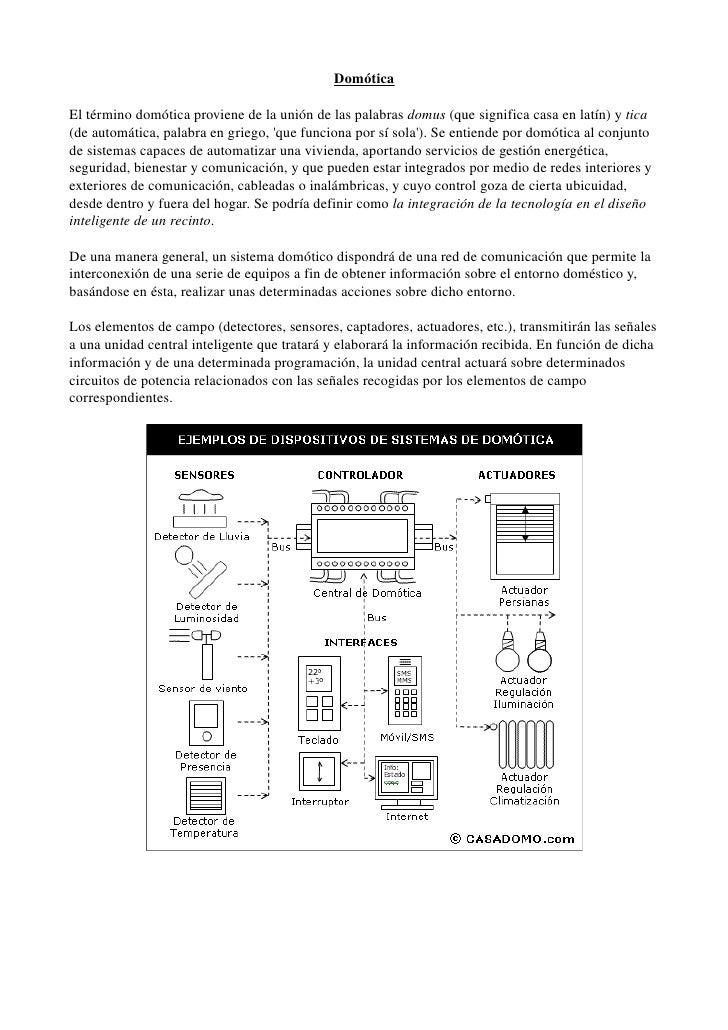 Domótica  Eltérminodomóticaprovienedelaunióndelaspalabrasdomus(quesignificacasaenlatín)ytica (deautomát...