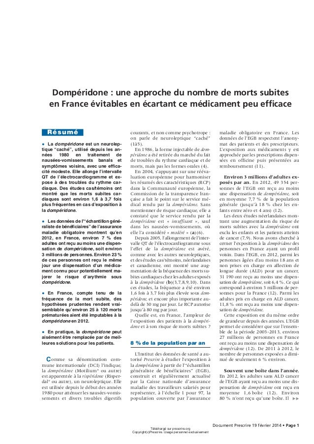 Dompéridone : une approche du nombre de morts subites en France évitables en écartant ce médicament peu efficace Résumé ● L...