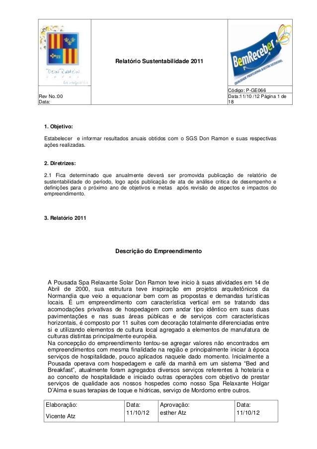 Relatório de sustentabilidade 2011 da pousada Don Ramón