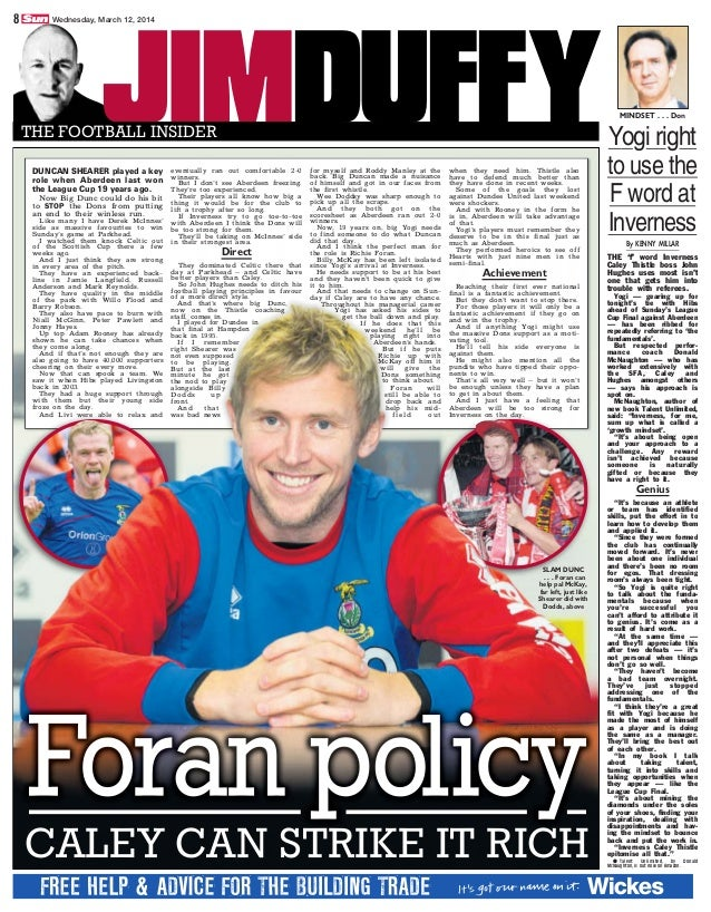 JIMDUFFYTHE FOOTBALL INSIDER By KENNY MILLAR THE 'f' word Inverness Caley Thistle boss John Hughes uses most isn't one tha...