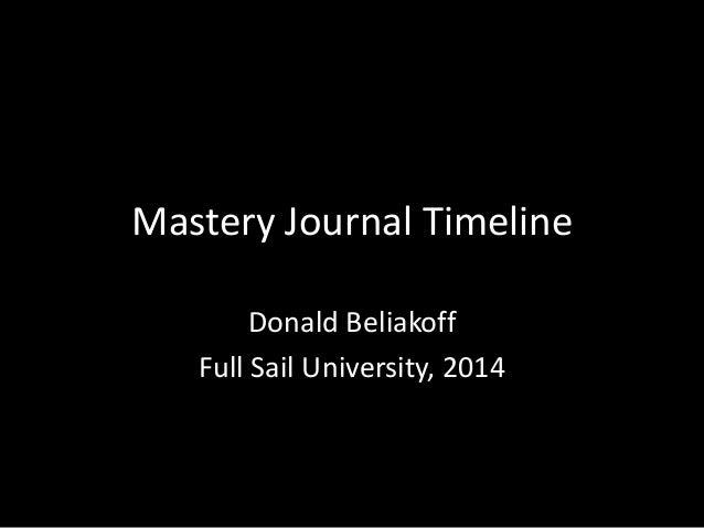 Mastery Journal Timeline Donald Beliakoff Full Sail University, 2014