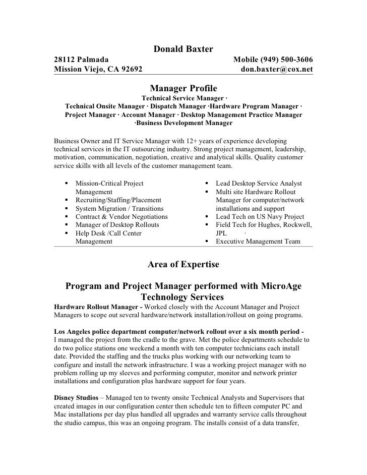 resume project manager it infrastructure infrastructure
