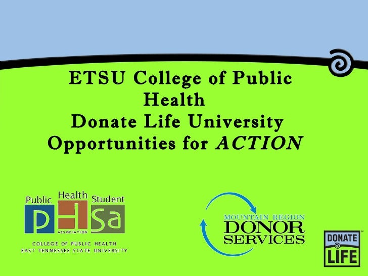 ETSU College of Public Health  Donate Life University Opportunities for  ACTION