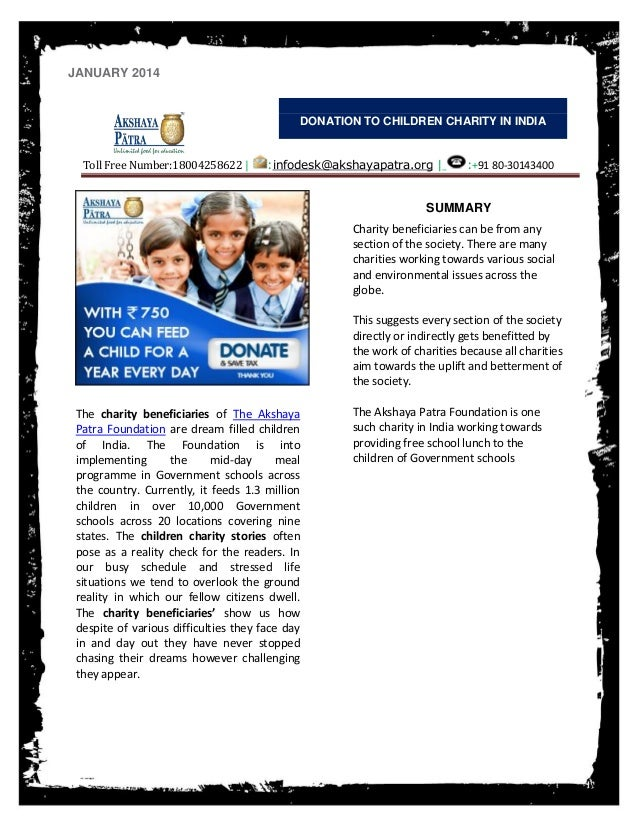 JANUARY 2014  DONATION TO CHILDREN CHARITY IN INDIA  Toll Free Number:18004258622 |  :infodesk@akshayapatra.org |  :+91 80...