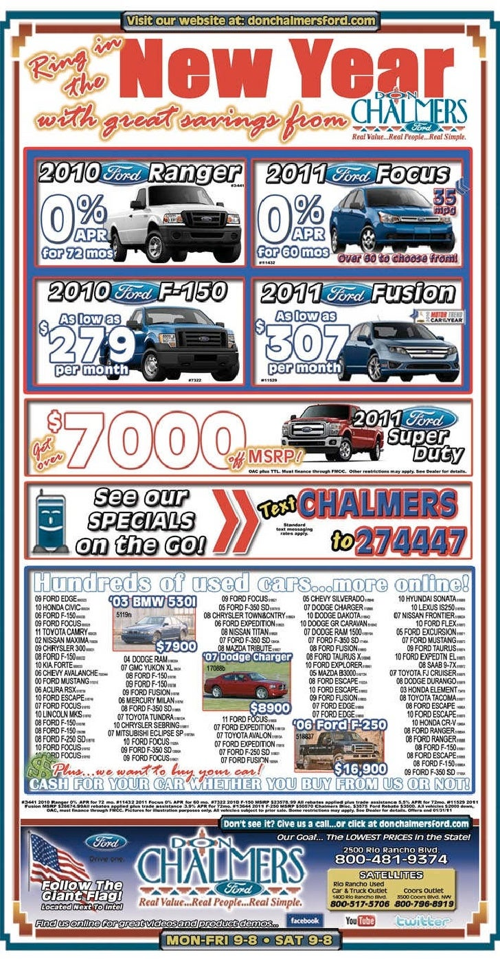 Don Chalmers Ford New Year Savings