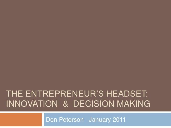 Don C Peterson   The Entrepreneurs Headset Jan 11 V2