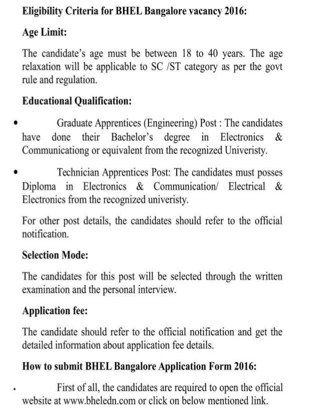 BHEL Bangalore Gov Jobs Recruitment 2016 Latest 362 Graduate and Technician Apprentices Posts Result