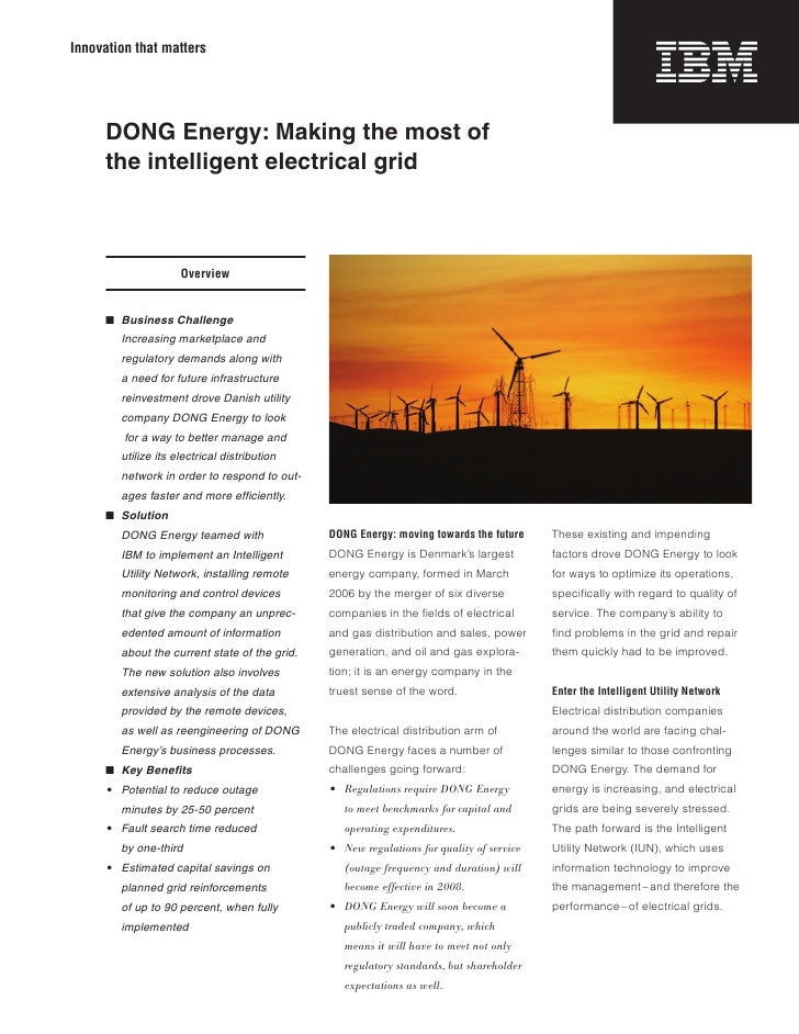 Innovation that matters          DONG Energy: Making the most of      the intelligent electrical grid                     ...