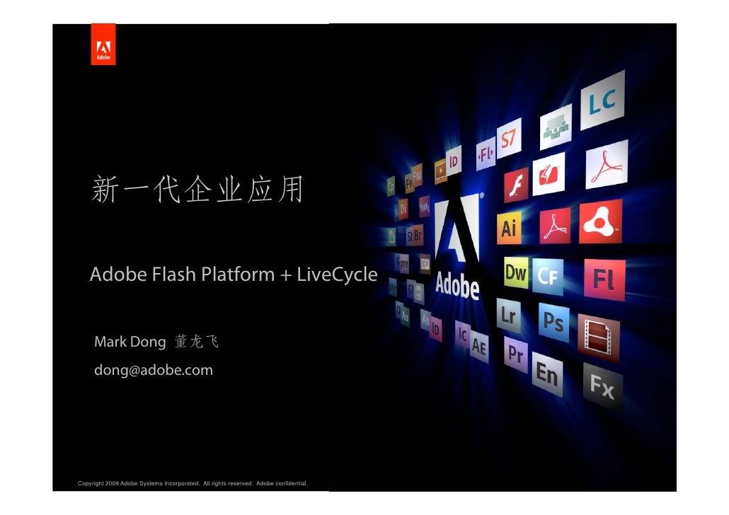 Adobe Flash Platform + LiveCycle        Mark Dong      dong@adobe.com     Copyright 2009 Adobe Systems Incorporated. All r...