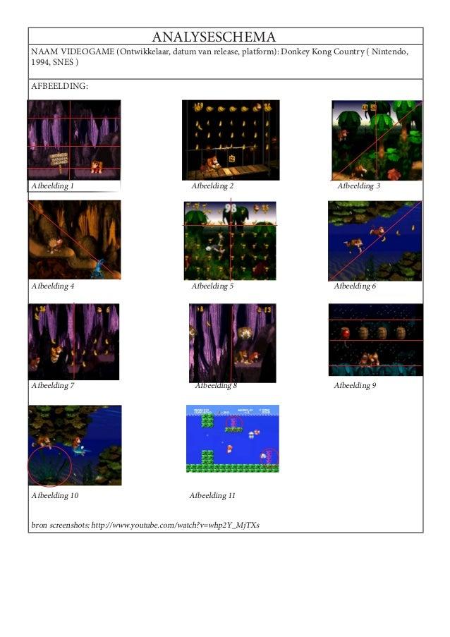 ANALYSESCHEMANAAM VIDEOGAME (Ontwikkelaar, datum van release, platform): Donkey Kong Country ( Nintendo,1994, SNES )AFBEEL...