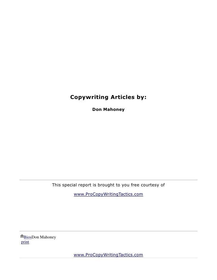 COPYWRITING SECRETS OF THE MASTERS -  Don Mahoney