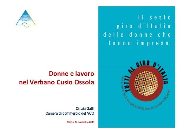 Donne e lavoro nel Verbano Cusio Ossola  Cinzia Gatti Camera di commercio del VCO Stresa, 14 novembre 2013