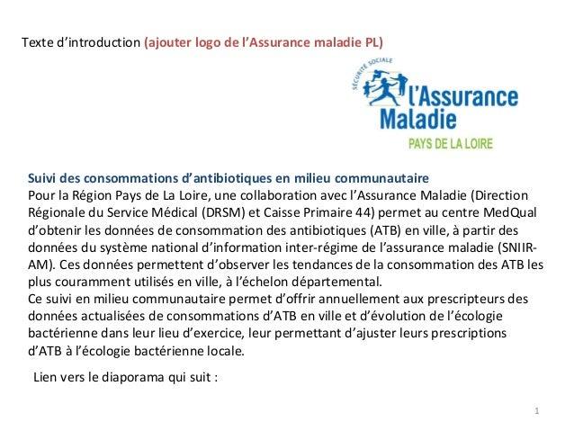 Texte d'introduction (ajouter logo de l'Assurance maladie PL)  Suivi des consommations d'antibiotiques en milieu communaut...