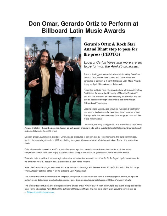 Don Omar, Gerardo Ortiz to Perform at         Billboard Latin Music Awards                                                ...
