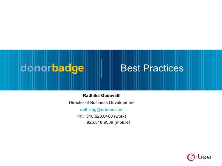 Donorbadge Best Practices