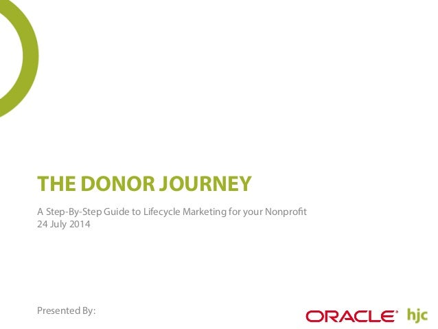 THE DONOR JOURNEY A Step-By-Step Guide to Lifecycle Marketing for your Nonprofit 24 July 2014 Presented By: