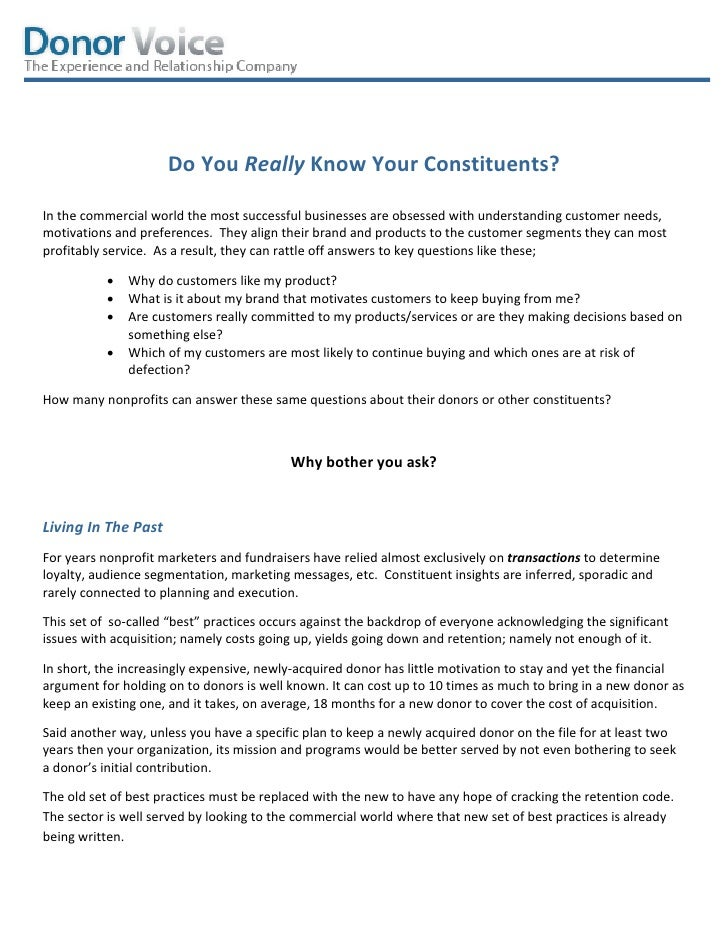 Do You Really Know Your Constituents?In the commercial world the most successful businesses are obsessed with understandin...