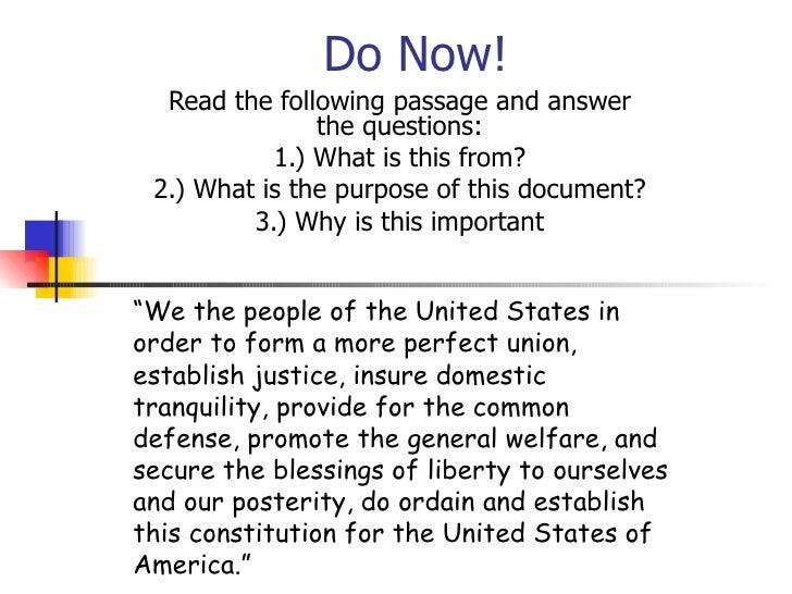 Do Now! Constitution