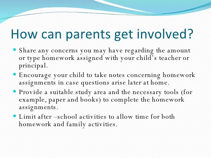 note home to parents about homework
