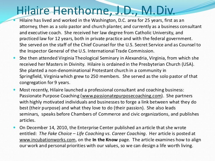 HilaireHenthorne, J.D., M.Div.<br />Hilaire has lived and worked in the Washington, D.C. area for 25 years, first as an at...