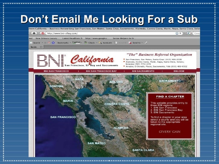 Dont Email Me For A Sub | BNI Embarcadero
