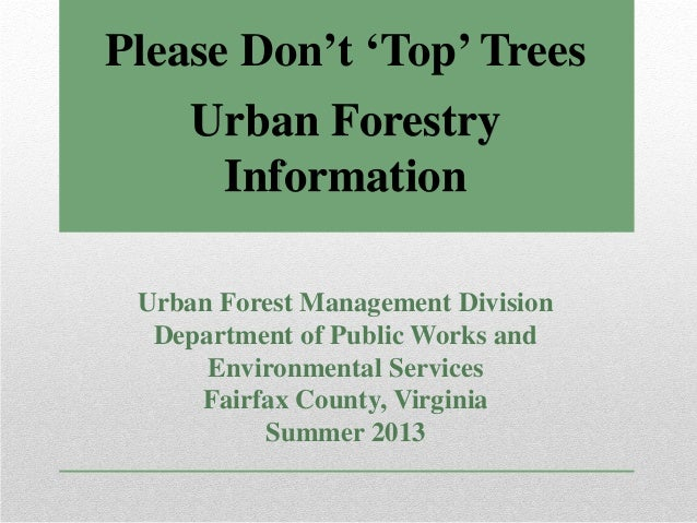 Urban Forestry Information Urban Forest Management Division Department of Public Works and Environmental Services Fairfax ...