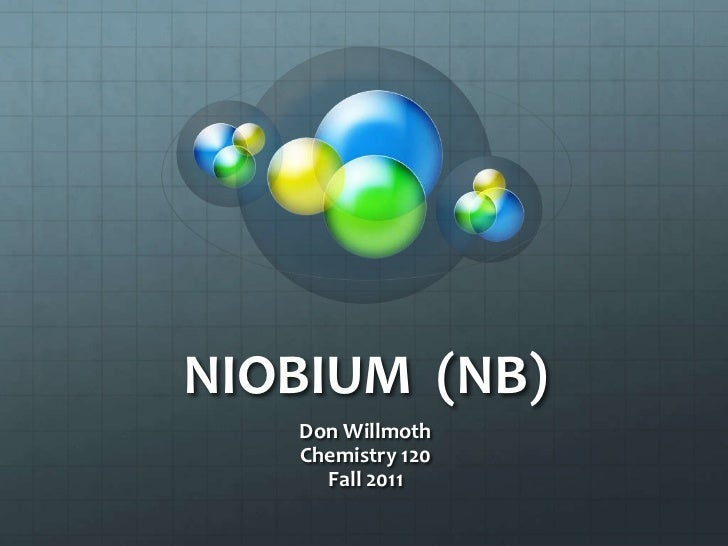 NIOBIUM (NB)   Don Willmoth   Chemistry 120     Fall 2011